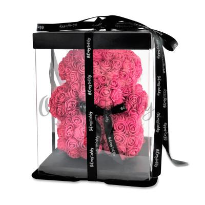 Розовый мишка из роз Oh My Teddy 25 см