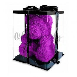 Сиреневый мишка из роз Oh My Teddy 40 см