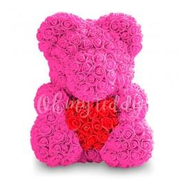 Малиновый мишка из роз с сердцем 40 см