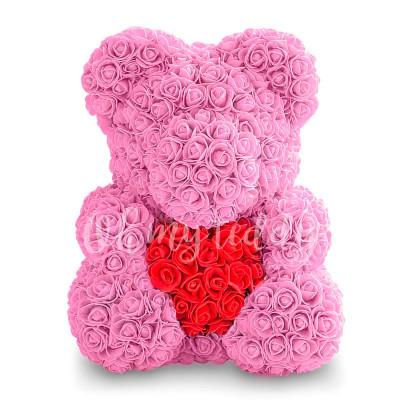 Розовый мишка из роз с сердцем 40 см