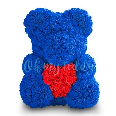 Синий мишка из роз с сердцем 40 см
