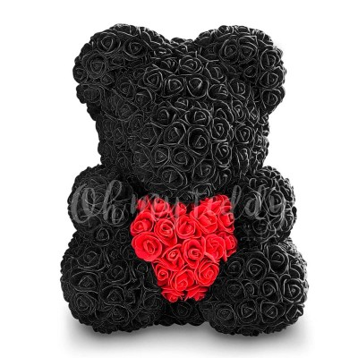 Чёрный мишка из роз с сердцем 40 см