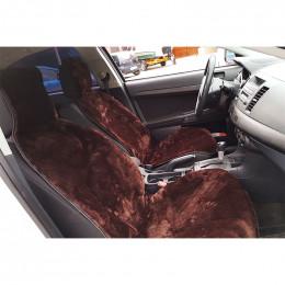 Автонакидка на переднее сиденье из шерсти (коричневая)