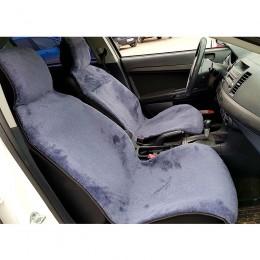 Автонакидка на переднее сиденье из шерсти (серая)